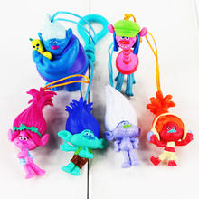 6Pcs/lot Movie Trolls Doll Keychain Phone Pendant PVC Action Figures Toys 5-6cm(China)