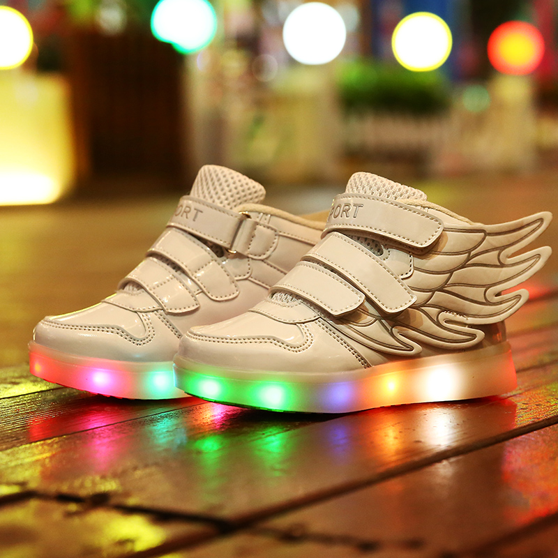 LED Children Shoes With Light Boys Girls USB Charger Sneakers Wings High help Kids Light Up Shoes Free Shipping<br><br>Aliexpress