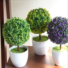 2016 New simulation potted plants Simple and stylish floral potted trees Office decoration ball put Color shipped randomly