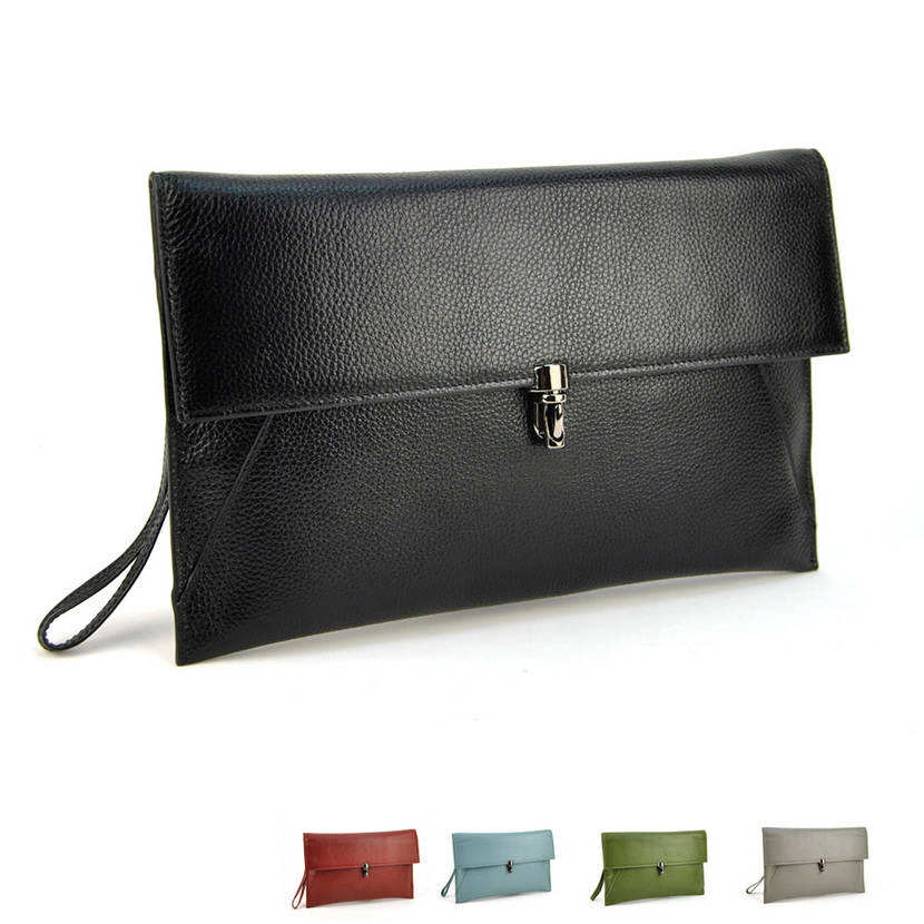 Genuine Leather Women Daily Clutch Bags Real Skin Cowhide Envelope Shoulder Organizer Purse Eevening Party Ladies Wristlet Bag<br>