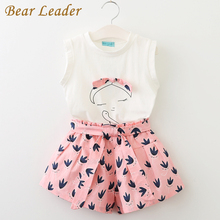 Bear Leader Girls Clothing Sets 2017 Children Clothing Sleeveless T-shirt+Print Pants 2Pcs for Kids Clothing Sets Baby Clothes(China)