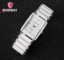 Luxury Brand CHENXI Elegant Woman's Watch Rhinestone White Silver Simple Stylish Design Ceramics Bracelet Quartz Casual Watch