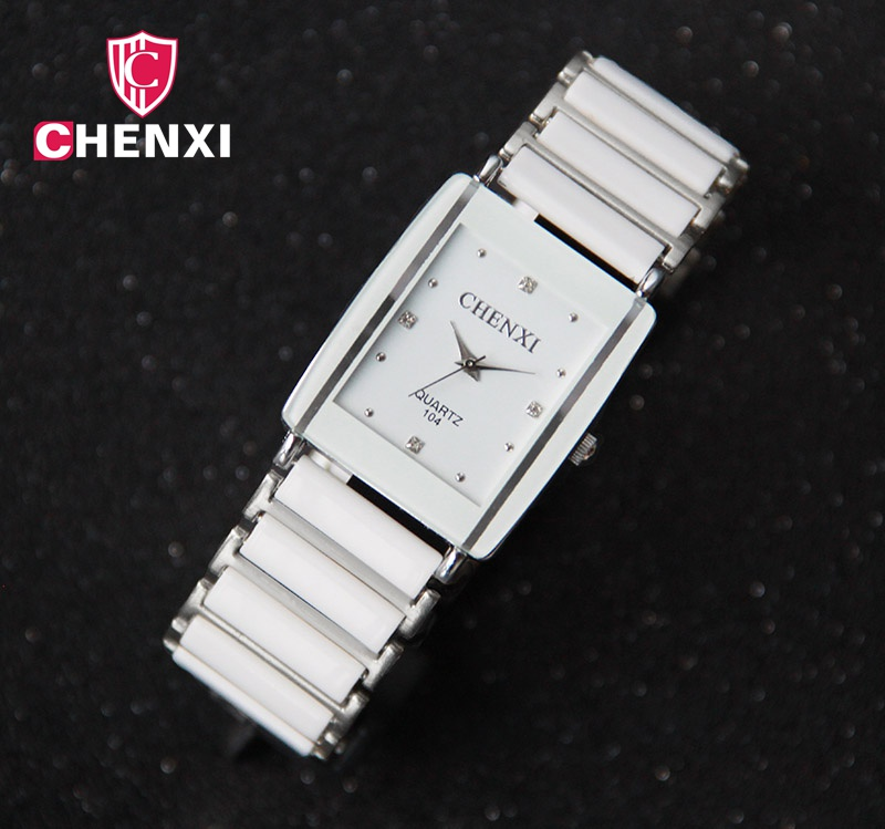 Luxury Brand CHENXI Elegant Womans Watch Rhinestone White Silver Simple Stylish Design Ceramics Bracelet Quartz Casual Watch<br><br>Aliexpress