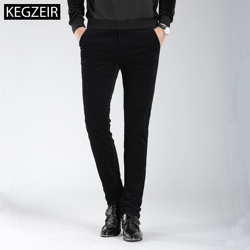 Winter Plus Velvet Corduroy Trousers Men Casual Slim Fit Pants For Men Zipper Warm Mens Stretch Pants Big Size Pantalon Hombre