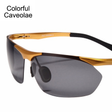 Colorful Caveolae Brand Name Men Sunglasses Fashion Half frame Man Polarized Sun Glasses UV400 Driving Glasses Male