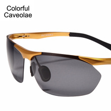 Colorful Caveolae Brand Name Men Sunglasses Fashion Half frame Man Polarized Sun Glasses UV400 Driving Glasses Male(China)