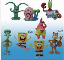 Animation 8pcs/lot SpongeBob Model Hand to do Action Figure Toys Doll Cute Cartoon Sponge Bob Vinyl Doll Classic children toys