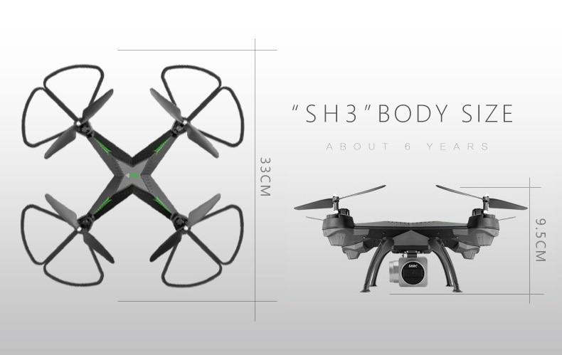 HR SH3 2MP 720P Wifi FPV Camera 2.4G 4CH Headless Mode One Key Auto Returned Altitude Hold RC Quadcopter VS H31 X5SW