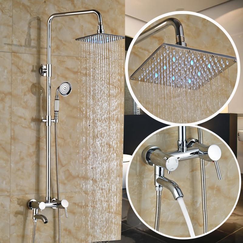 Polished Chrome Brass Single Handle In Wall Shower Faucet Set 8 LED Light Rain Showerhead + Handshower<br><br>Aliexpress