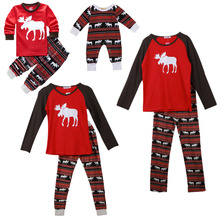 Xmas Moose Fairy Christmas Family Pajamas Set Adult Kids Sleepwear Nightwear Pjs Photgraphy Prop Clothing(China)