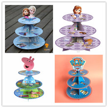 Free Shipping 1 X Sofia Princess Cupcake Holder Kids Birthday Party Cardboard Cupcake Stand Hold 24 Cupcakes