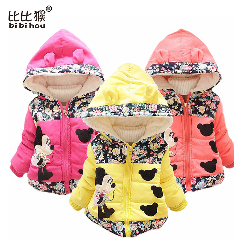 Minnie jacket for Girls Winter down Coat Warm Children infant Outerwear Long Sleeve Hooded Cotton rose Baby girls Kids Jackets Одежда и ак�е��уары<br><br><br>Aliexpress