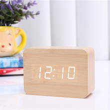 New listing Hot ! 2016 LED Wooden Small Digital Alarm Clock Modern Table Clock White Wood Red Word Electronic Desk Clock CYP-012