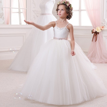 Delicate White Blue Champagne Jewel Beading Bow Little Brides Wedding Ball Gowns Communion Flower Girl Dress Spaghetti Straps