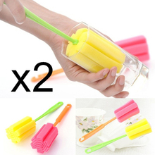 by dhl or ems 500set 2Pcs/set useful Cup Brush Kitchen Cleaning Tool Sponge Brush For Wineglass Bottle Coffe Tea Glass Cup Mug(China)