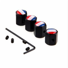 4pcs/lot  Anti-theft Style France Flag Logo Car Wheel Tire Valve Cap Tyre Dust Caps For BMW Benz VW Skoda