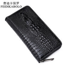 2015 Sell well Gothic crocodile handbag luxury men's leather wallet men business clutch bag zipper long section clutch bag