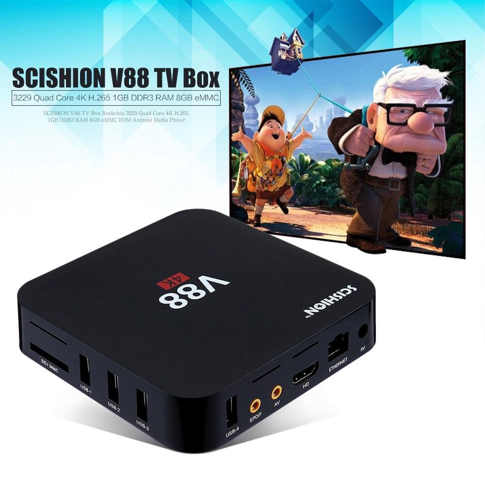 SCISHION V88 Set-top Tv box Android 5.1 Smart TV Box Quad Core 1G/8G 4K H.265 WiFi Full Loaded 1.5GHZ Media Player PK X96 A95X<br><br>Aliexpress