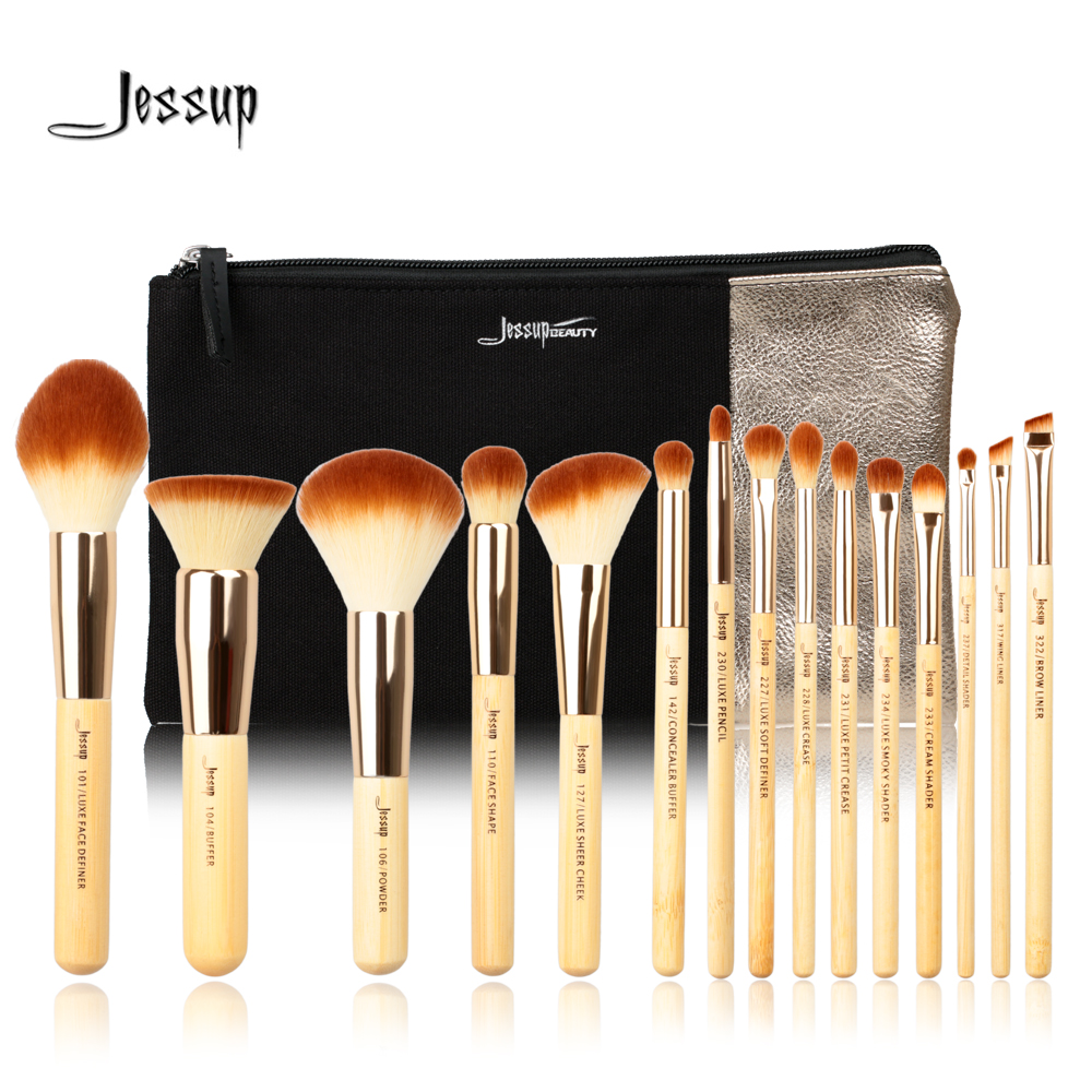 Jessup Brand 15pcs Bamboo Professional Makeup Brushes Set T140  &amp; Cosmetics Bags Women Bag CB002 Make up brush Beauty tools<br>