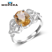 Hot Sale Luxury Women Ring 2ct High Quality 100% Natural Citrine Ring Real 925 Sterling Silver Jewelry For Lady Wedding Ring