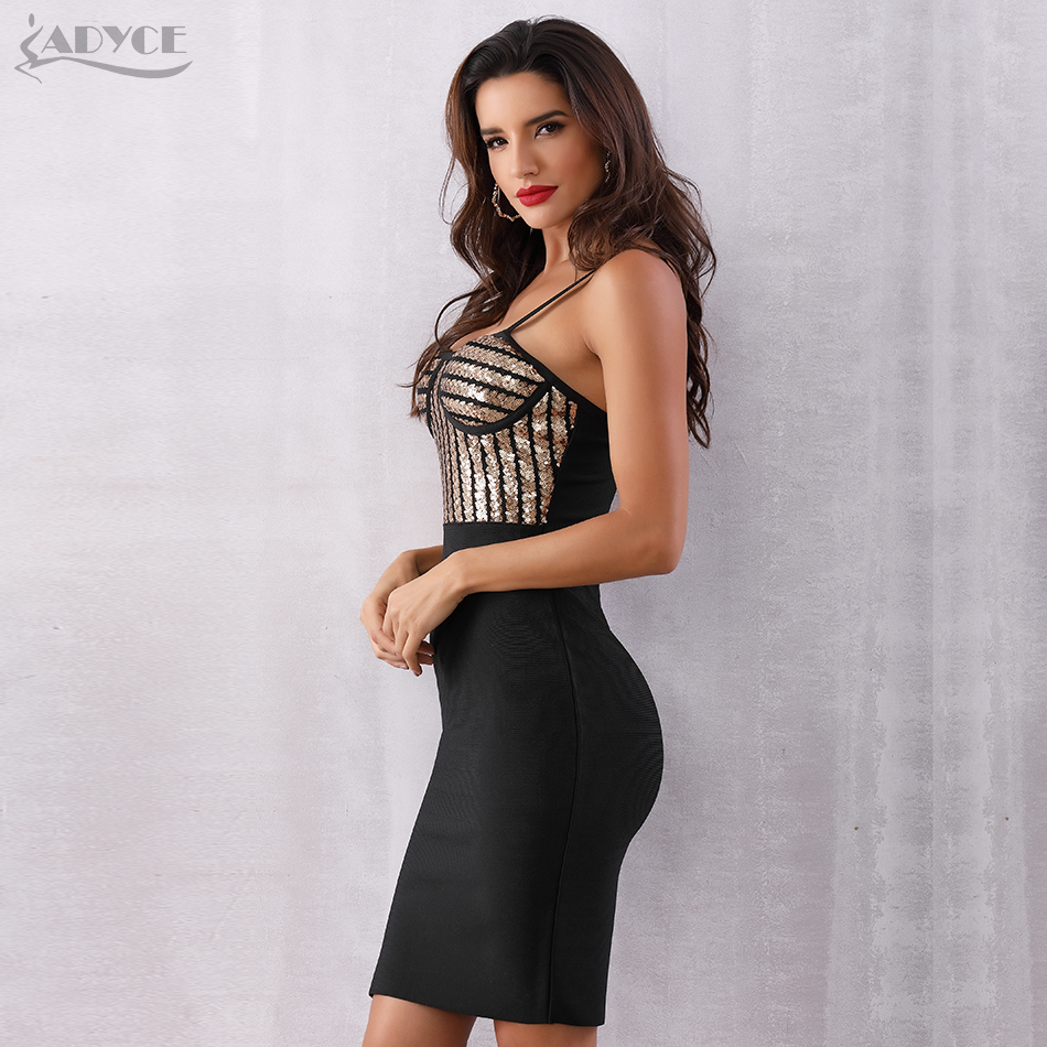 e2a93cd09537 Adyce New Summer Bandage Dress Women Vestidos Verano 2018 Sexy Bodycon  Sequines Spaghetti Strap Club Dress Celebrity Party Dress | Bright Pebbles