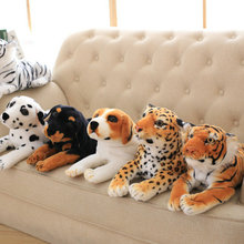 Drop Shipping Simulation Dog/Tiger/leopard Plush Toys Doll Lying Squatting Posture Genuine Good Quality Lifelike Real Dog 45cm
