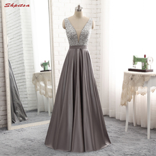 Long Evening Dresses Long 2017 Weddings on Sale Women Satin Beaded Formal Evening Gowns Dresses Wear Prom(China)