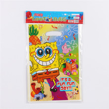 10pcs/lot Cartoon Fun SpongeBob Gift Gag Party Supplies Kids Birthday Party SquarePants Candy Bags Wedding Decoration Loot Bag(China)