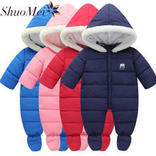 Baby Clothes 2018 New Baby Costume Winter Baby Hooded Rompers Thick cotton Newborn Outfit Jumpsuit For Lucky Child(China)