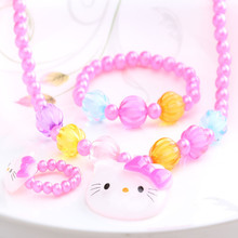 1Set=3Pcs Summer Candy Color Beads Cat Jewelry Set Necklace Bracelets Rings Girls Simulated Pearl Accessories Hair Ornament