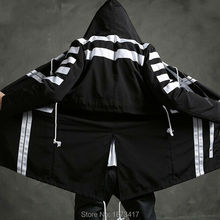 2017 Newest Men Fashion Hooded Long Jacket Trench Coat Black White Color Windbreaker Overcoat Street Hip-hop Outerwear(China)
