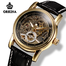 Mg.orkina Mens Skeleton Gold Automatic Watch Men Mechanical Power Self winding Black Leather Luminous Transparent Wrist Watches(China)