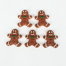 Kawaii Flatback DIY Christmas Gingerbread Xmas Resin Cabochons Flat Back Scrapbooking Embellishment Decoration Crafts:25*30MM(China)