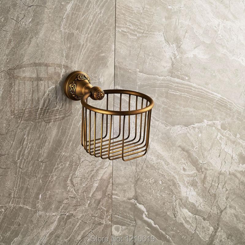 Newly Wall Mounted Bathroom Toilet Roll Paper Holder Basket Antique Brass Vintage Tissue Shelf Rack<br><br>Aliexpress