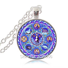 Cancer Zodiac Necklace Astrology Mandala Pendant Art Energy Healing Meditation July Birthday Gift for Friend Girls Women Choker(China)