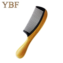 YBF Diaphanous Handmade Natural Ox Horn Green sandalwood Comb Wooden Handle Combs Hair Style Designer Professional For Ladies(China)