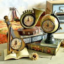 Violin Desk Table Clocks Europe Retro Creative Globe Suitcase Saks Model sitting room TV cabinets Bar Cafe Decor