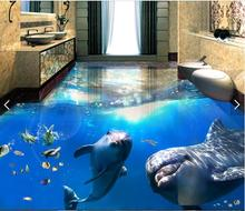 3d flooring custom waterproof wallpaper Beautiful sea world dolphin 3d bathroom flooring picture photo wallpaper for walls 3d(China)