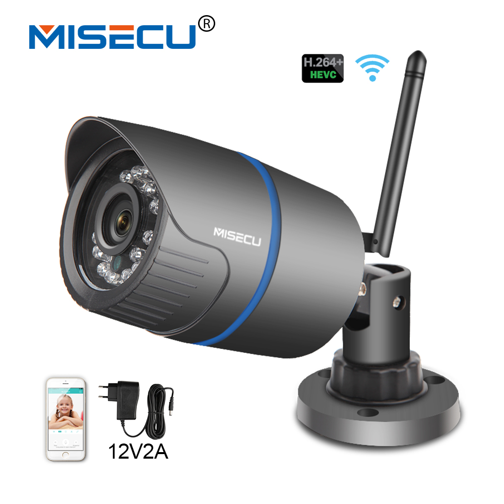 MISECU 2.8mm H.265 1080P H.264+ 720P ip WIFI IR camera 1280*720P P2P Wireless night vision 12V2A power Outdoor CCTV security<br>