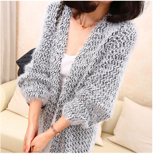 2015 Autumn & Winter New Fashion Women's Casual Solid Mohair Sweaters Ladies' Long Sleeved Shawl Cardigan(China)