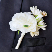 2015 Summer 8pcs Fabric Wedding Church Beach Decor Artificial Daisy Groom Boutonniere Corsage Brooch Flower White Green  FL5138