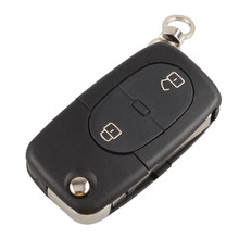 LARATH Flip Folding Remote Key Shell Cover fit for Audi A2 A3 A4 A6 A8 TT Uncut Fob Case 2 Buttons+Logo