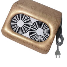 Golden/Silver/Pink/White/Black PU Leather 2 Fan Manicure Dust Collector for Aliylic Polishing Drilling(China)