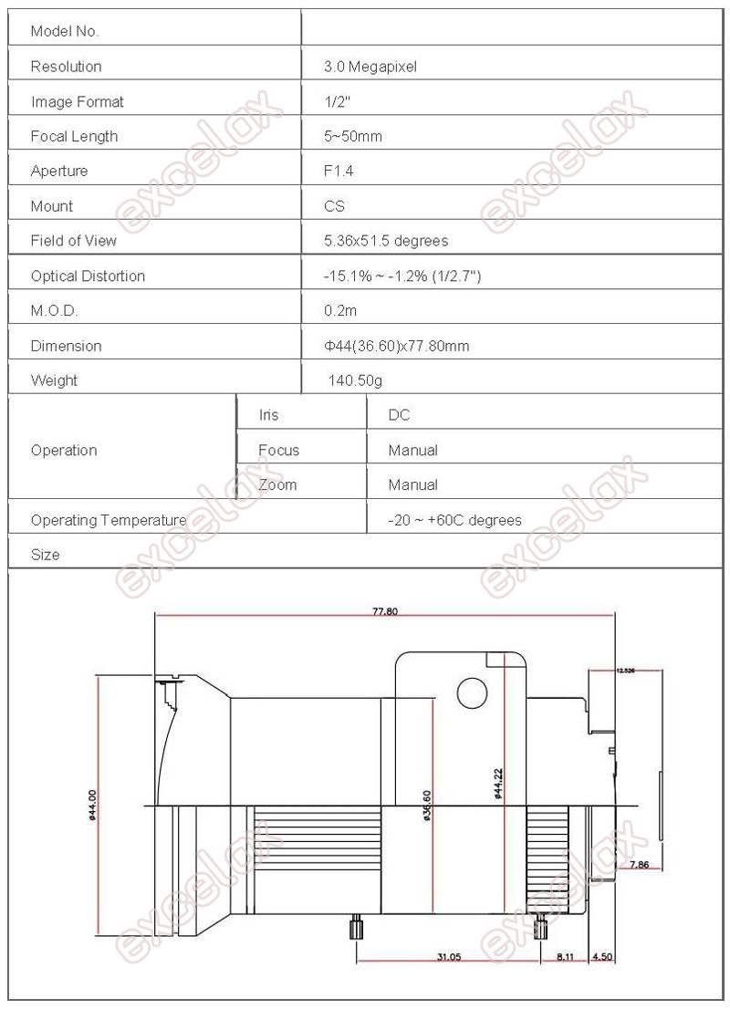 CCTV lens_5~50mm 3MP 1-2 F1.4 DC CS_economical