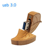 Natural wooden golden leaf usb flash drive usb 2.0 de memory stick pendrive 32gb pen drive 4GB 8GB 16GB (over 10 pcs free logo)(China)