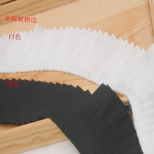 2meters/pack 8.5cm Black/ White Ruffled Cloth Lace Fabric Linen Material Trims Skirt/Collar Accessories Z140(China)