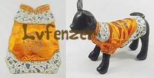 Pet Products Dog Supplies golden brocade Small Dog puppy China Cheongsam embroidery Dragon Clothing Trench(China)