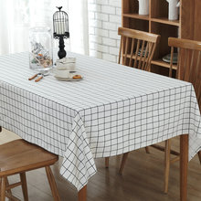 Modern simplicity lattice cotton canvas table cloth Restaurant home Plaid Tablecloth towel Coffee table Cover Cloth 3 colors(China)