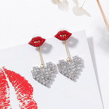 Fashion Shiny Red Mouth Crystal Rhinestone Love Heart Drop Dangle Earrings for Women Korean Luxury Female Girls Jewelry EC425(China)