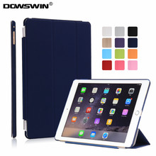 case for ipad air 2,dowswin smart cover for ipad air2 pu front pc back matte transparent can see logo wake up sleep